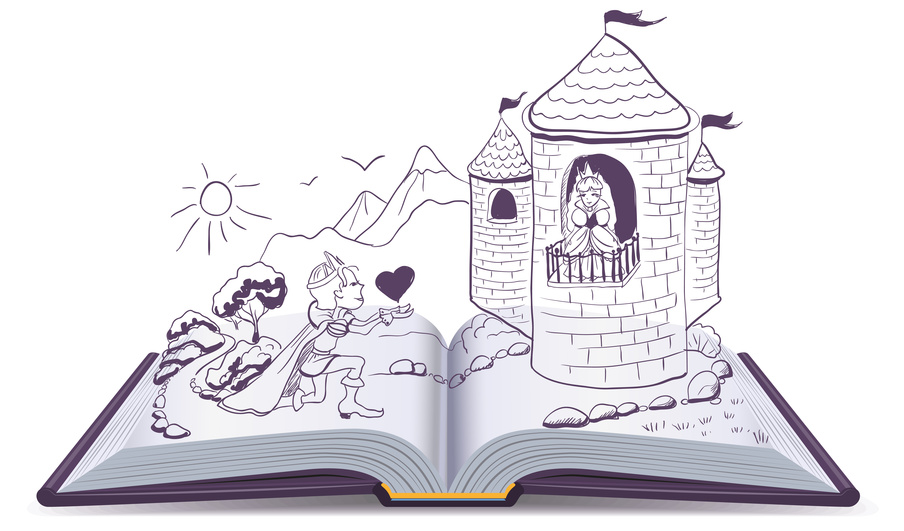 Knight is kneeling in front of princess in castle. Open book. Illustration in vector format