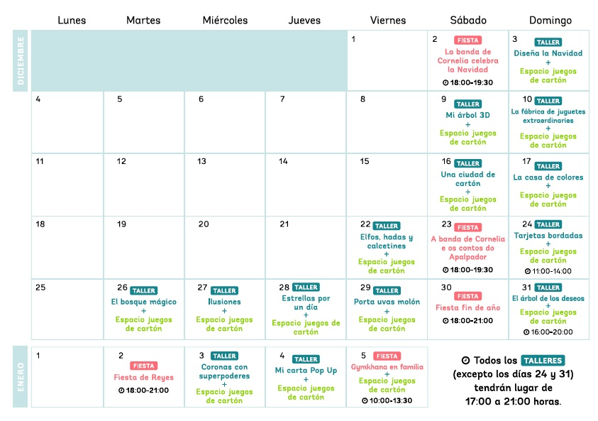 calendario de actividades infantiles en espacio coruña